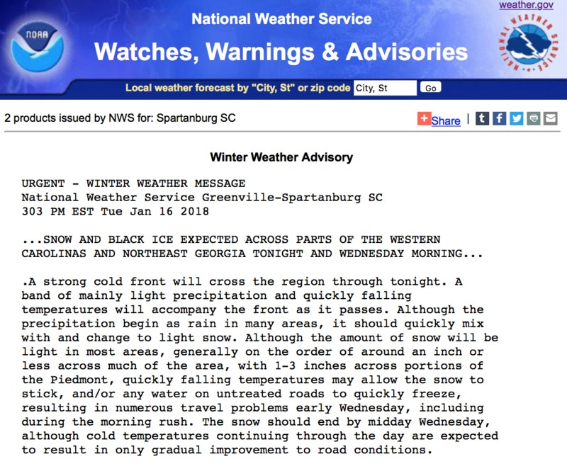 Winter Weather Advisory from the National Weather Service Website