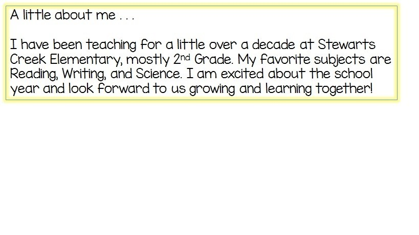 a paragraph explaining my 10 plus years of teaching and the subjects I love to teach; Reading, Writing, and Science. Also my excitement about the school year.