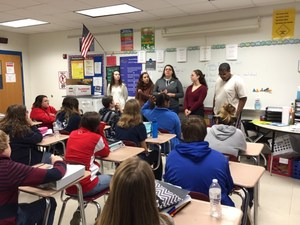 Mrs. Geromin's AP Government seniors came to speak to Mrs. Dillingham's 8th grade students about social issues. The SMS students will have the opportunity to reflect on their own interests and answer the question,What would you fight for? They will think of an issue that they care about and want to see changed in our school, community, or world.  Students then will write and design their own magazine articles for a team magazine, implement an action plan related to their topic, and shared their learning at an expo they plan.