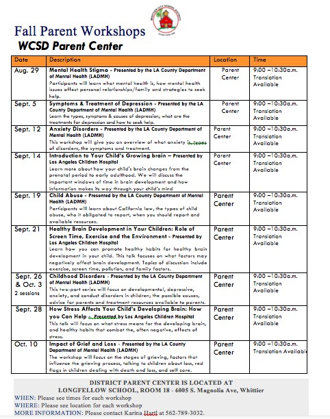 List of Fall Parent Workshops