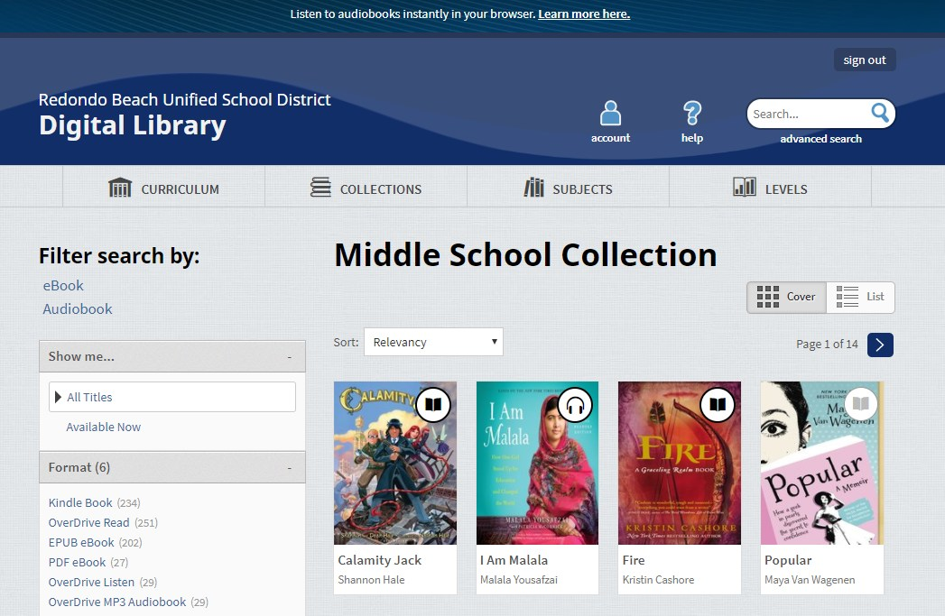 Titles on the Middle School Collection screen