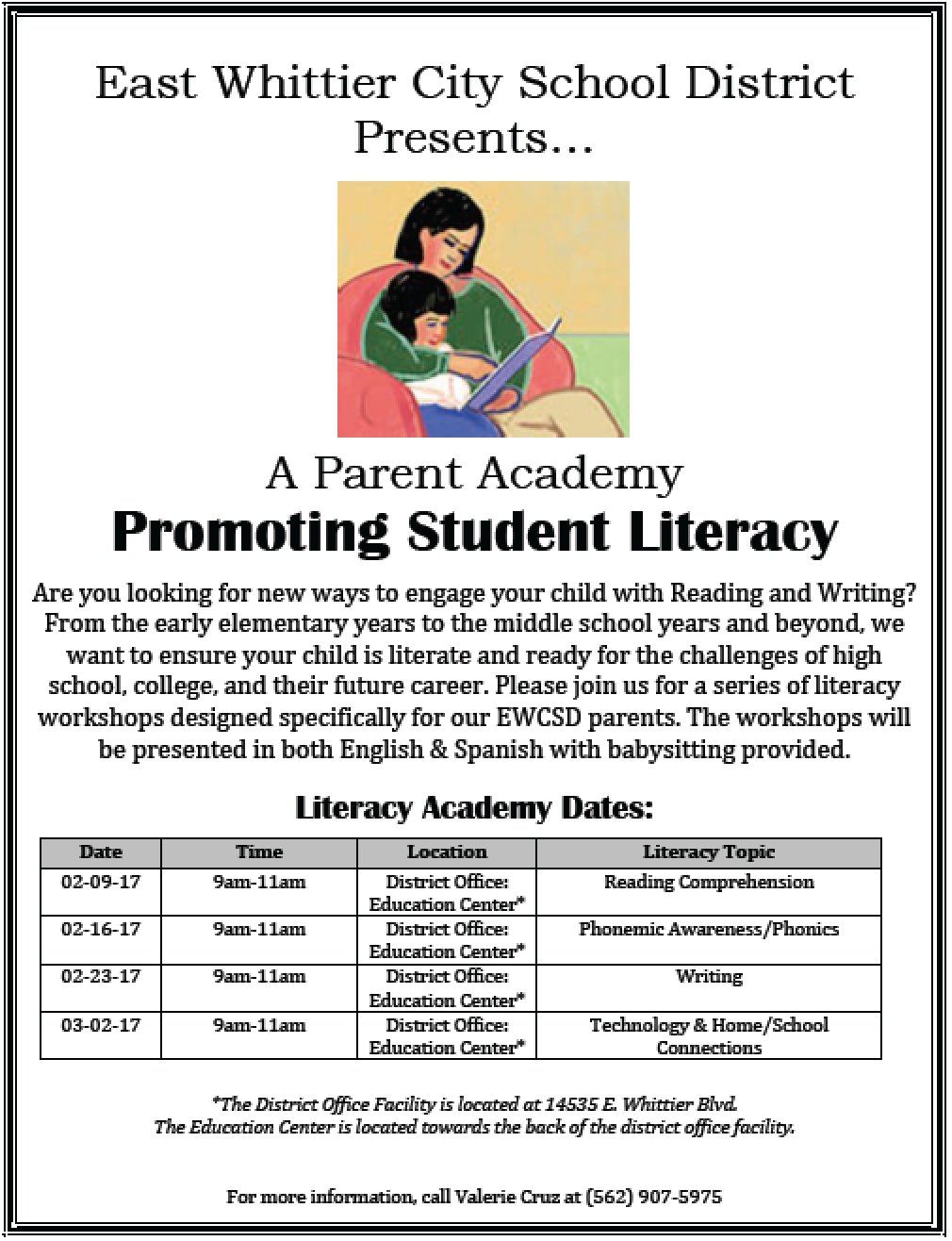 Promoting Student Literacy schedule in English