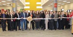 Pictured are City of Alton and Mission CISD officials cutting the ribbon at the new Digi-Tech Library located at Mission Collegiate High School.