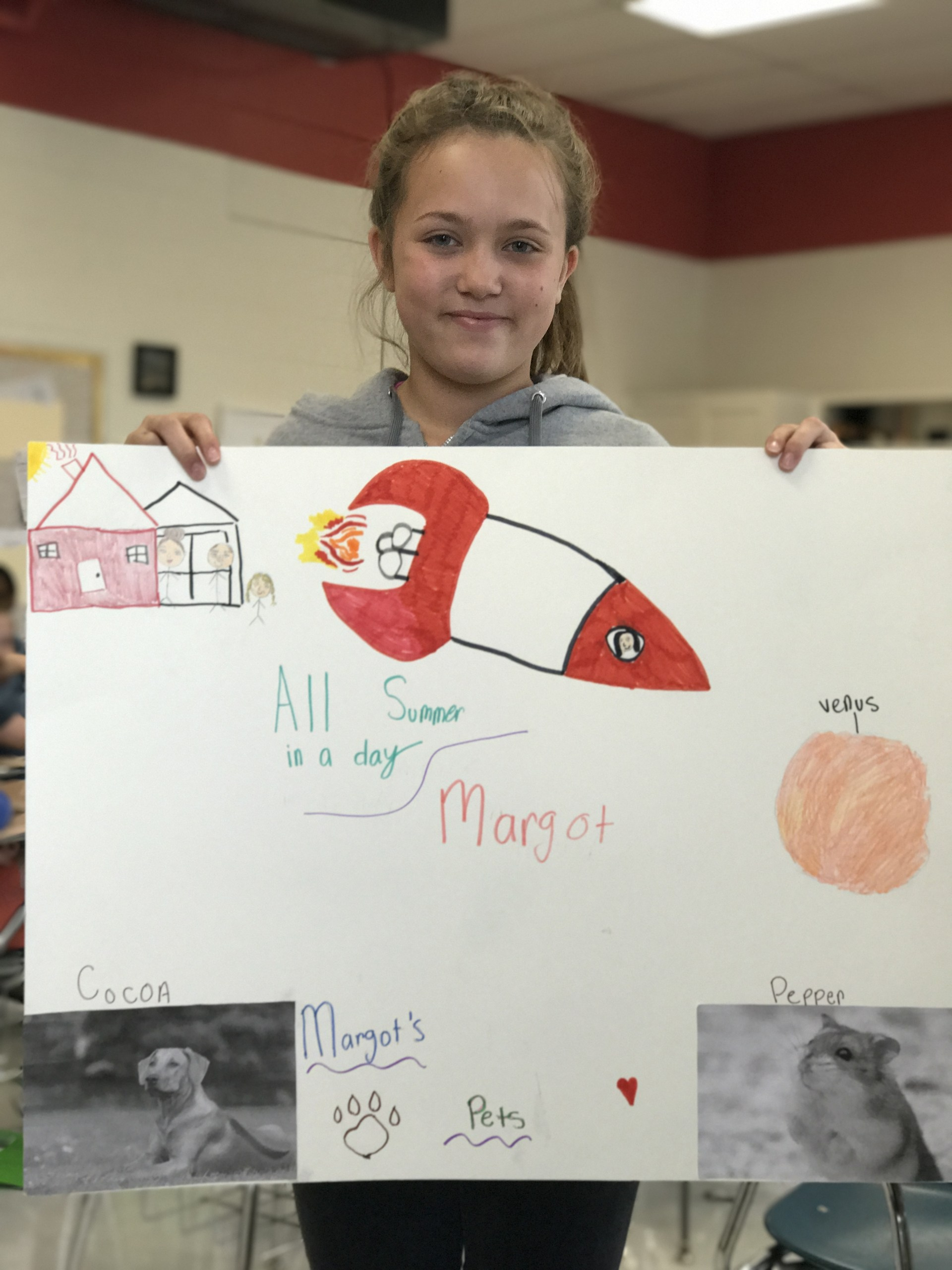 Abby's poster shows the plot of our story.