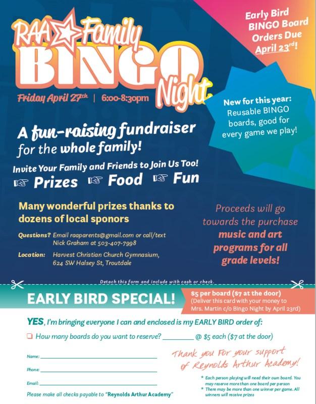 RAA Family Bingo Night Friday, April 27th! Thumbnail Image
