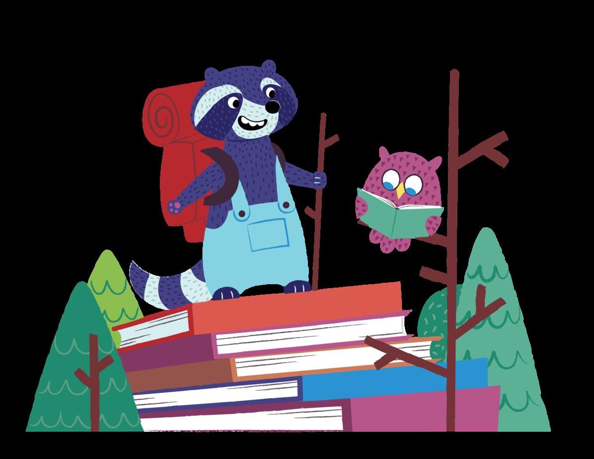 owl and raccoon on books