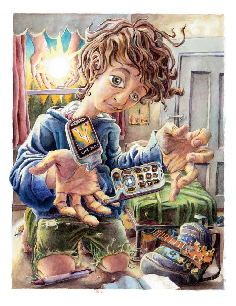 A detailed, slighly surreal watercolor painting of a young man smiling and breaking his old cell phone in his bedroom