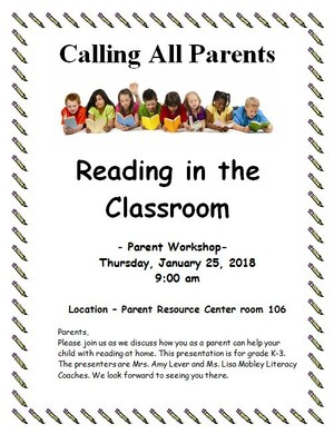 There will be a parent workshop-