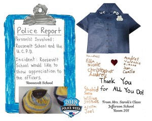 thank you artwork by student to UC Police