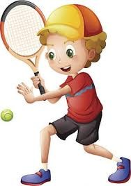 boy with tennis racket and tennis ball