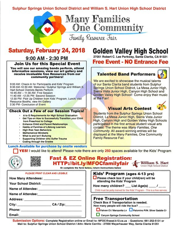 Sulphur Springs USD and Williams S Hart UHSD (Golden Valley HS) To Hold 2nd Annual Family Resource Fair Featured Photo