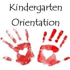 Two red hand prints with kindergarten orientation