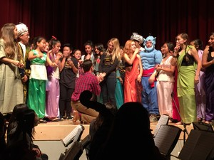 Johnson's Drama director Colleen Dudas's daughter Alyssa received a marriage proposal during the final performance of Aladdin.