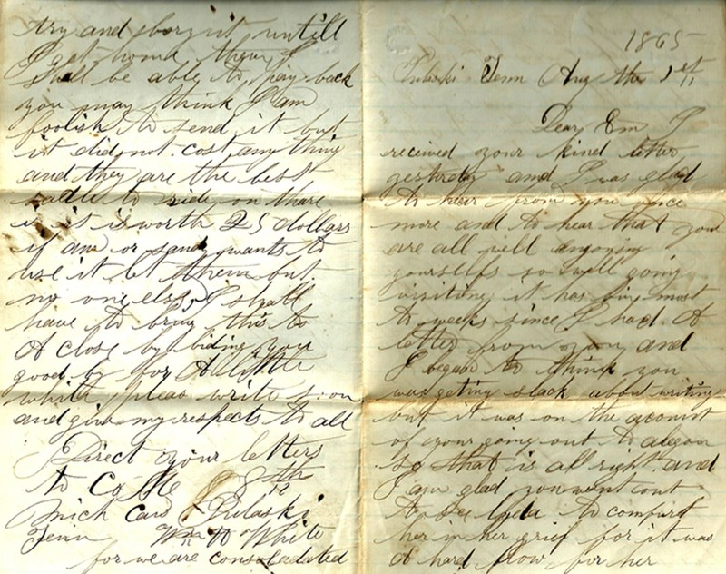 handwritten letter in cursive