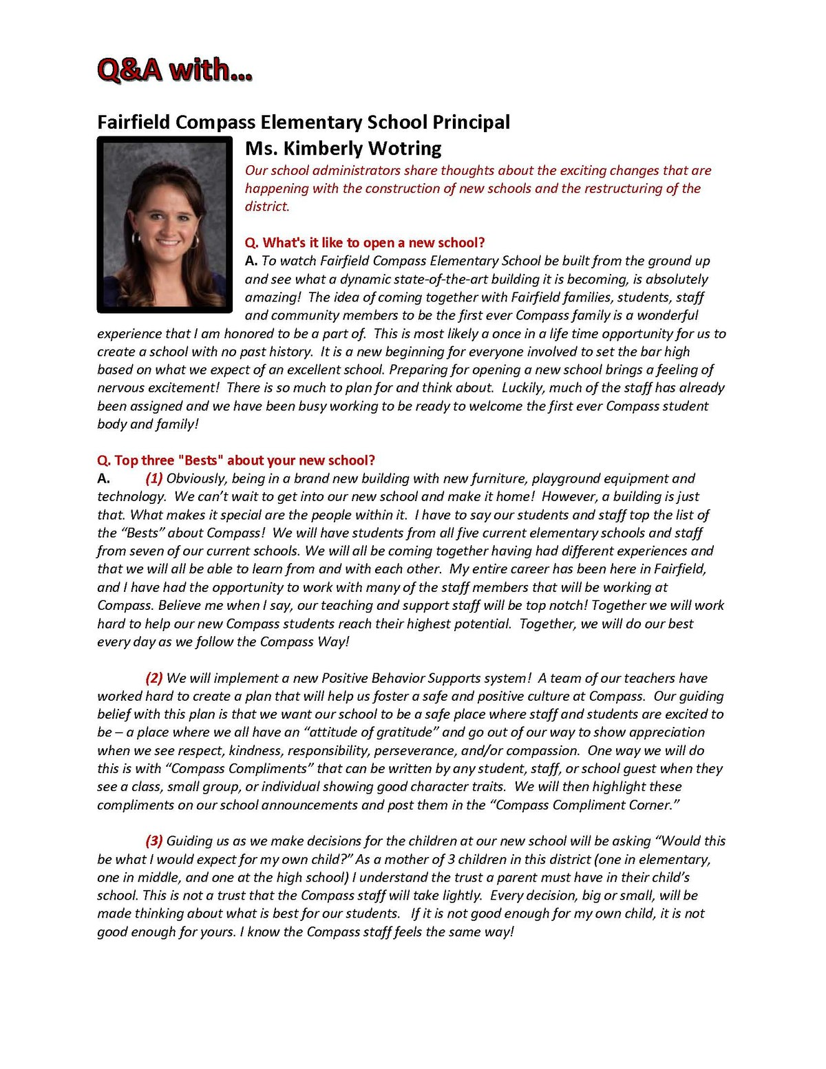 Q&A with Kim Wotring Compass Principal