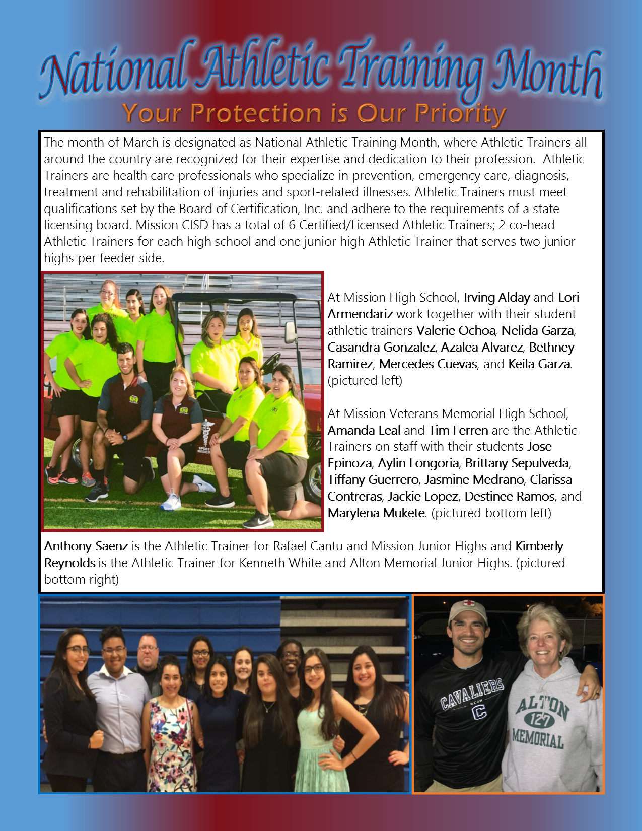 MCISD Athletic Trainers