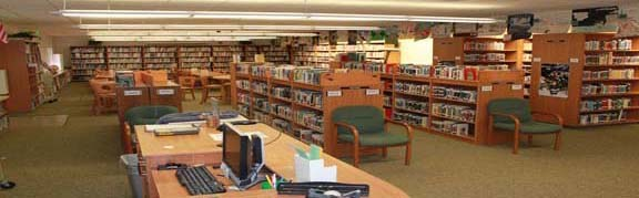 image of the interior of the SV library's book cases