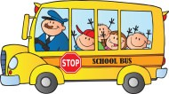 School Bus with students clipart