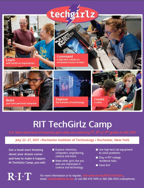 Flyer for TechGirlz camp at RIT.  Photos of girls participating in various technology related activities. Click for more information.