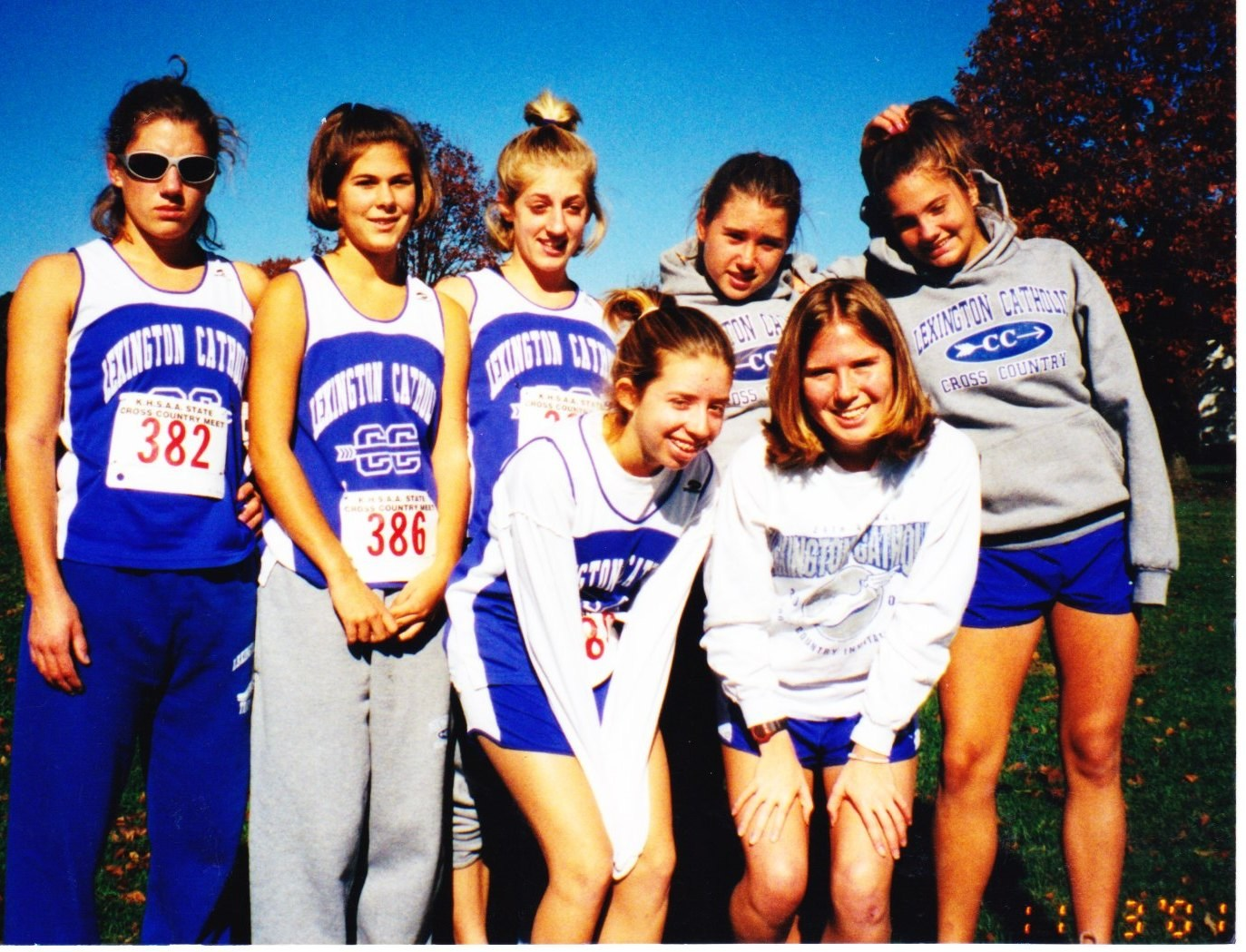 history in photos cross country lexington catholic high school 2001 state l to r lauren arnold caroline pike ashley arnold lucy barton lucie swain sarah morgan and mary megan sparks