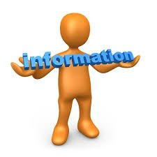 Cartoon figure holding the word information