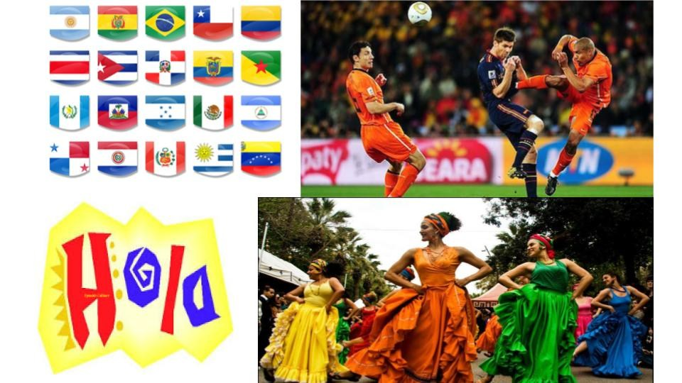 Collage of Latin America and Spain.