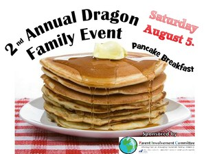 photo of pancakes with the words 2nd Annual Dragon Family Event
