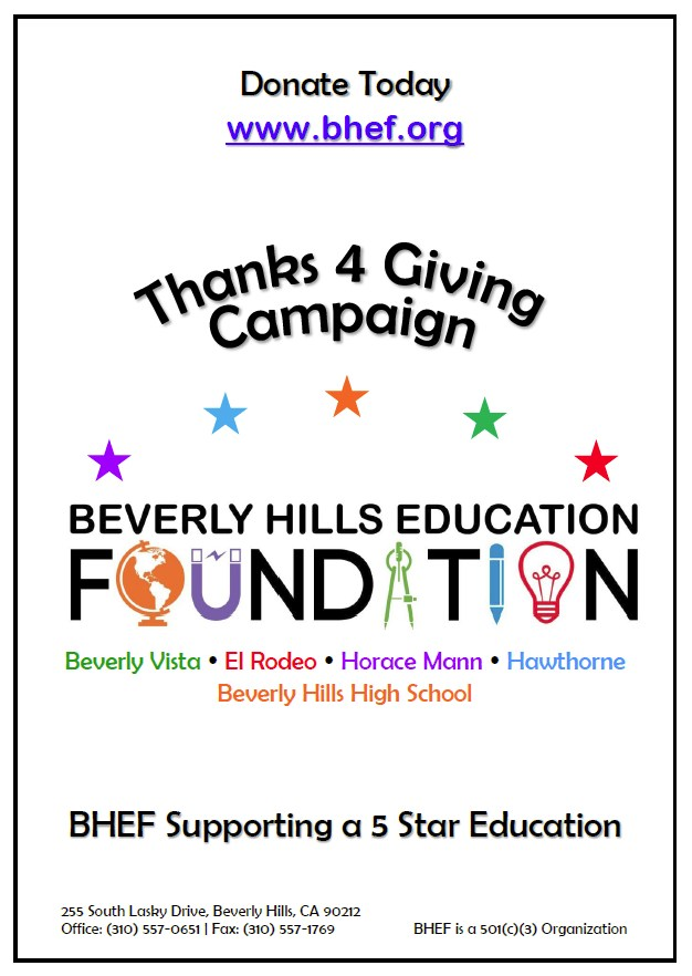 BHEF Thanks 4 Giving Campaign Flyer