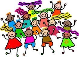 Many kids dancing together