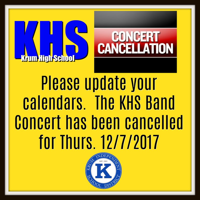 KHS Band Concert Cancellation Thumbnail Image