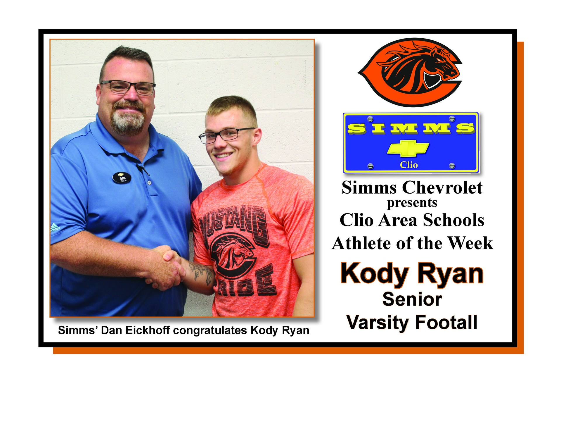 Photo of Kody Ryan receiving Simms Chevrolet Athlete of the Week honors from Dan Eickoff