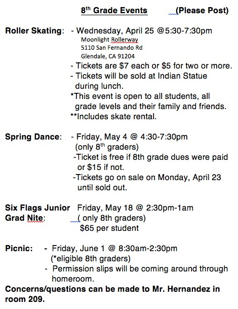 8th Grade Events!! Featured Photo