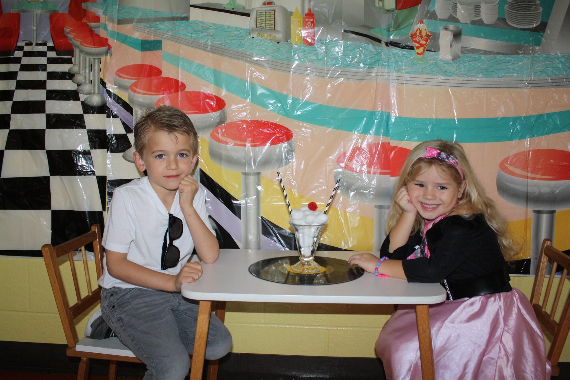 kids dressed in 50's attire