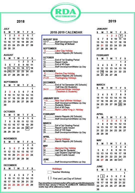 Picture of the 2018-2019 school calendar. These dates will also go on the home page under upcoming events