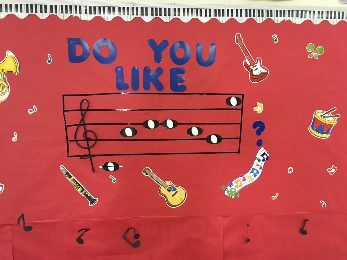 Bulletin board displaying a word written on the treble cleff in musical code