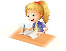Girl with blonde hair sitting at a desk and writing a book