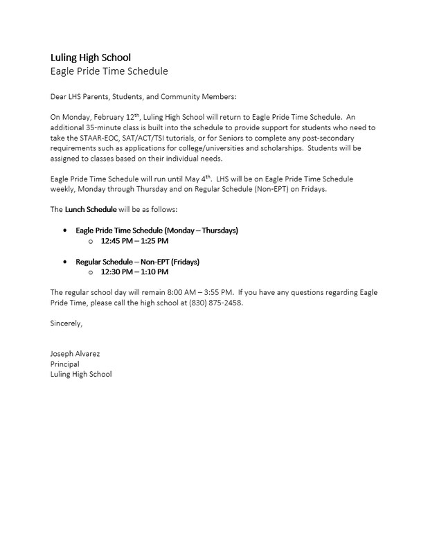 LHS is returning to Eagle Pride Time Schedule (Feb. 12-May 4). Thumbnail Image