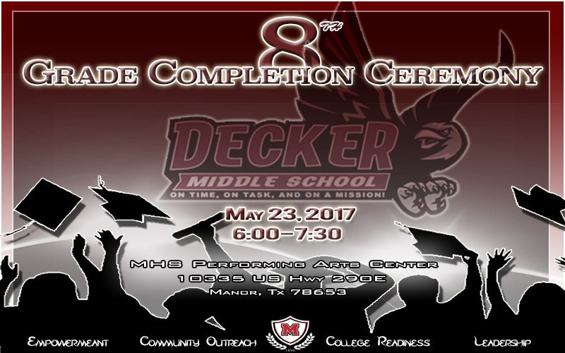 Decker Middle School's 8TH Grade Completion Ceremony to be held May 23 Thumbnail Image