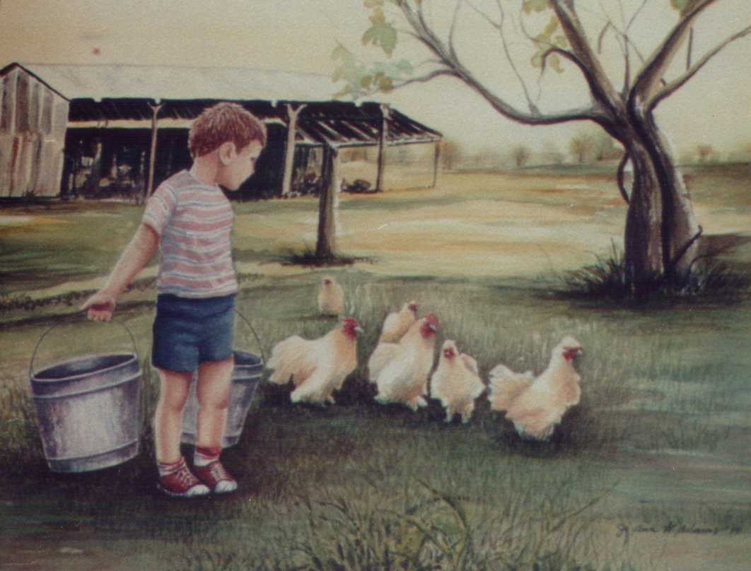 Watercolor of my son feeding the chickens