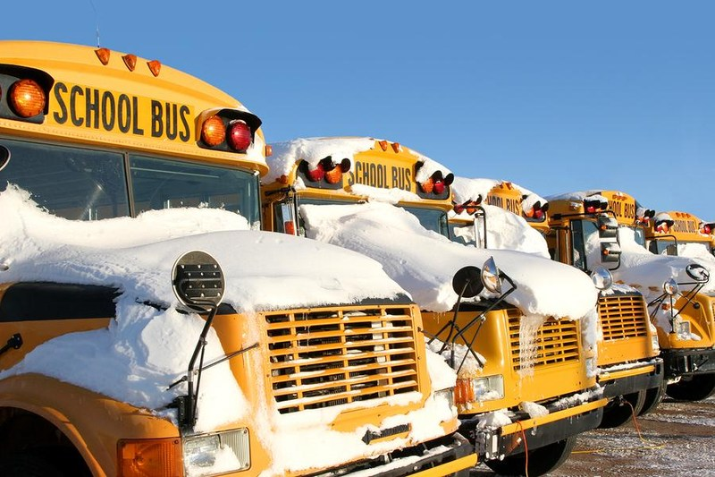 Buses with snow on them