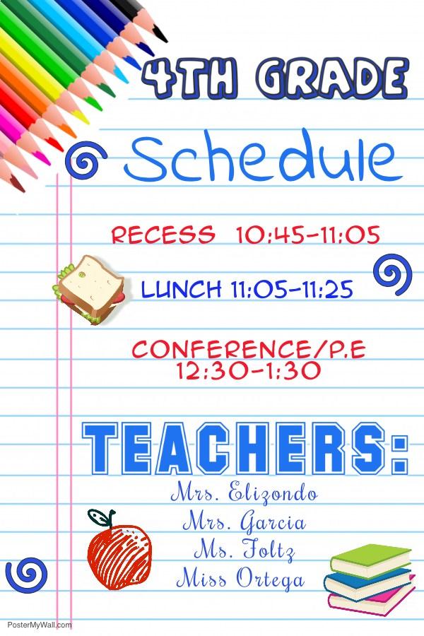 4th Grade Schedule