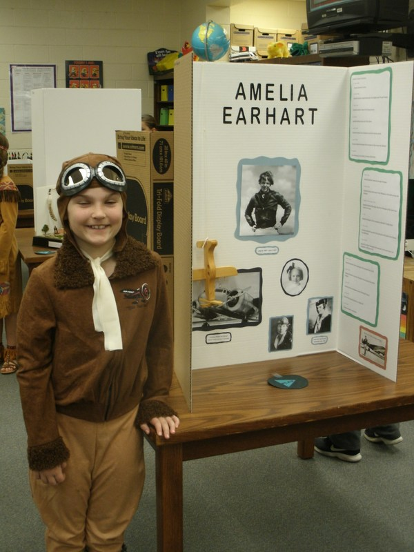 Student dressed as Amelia Earhart in wax museum.