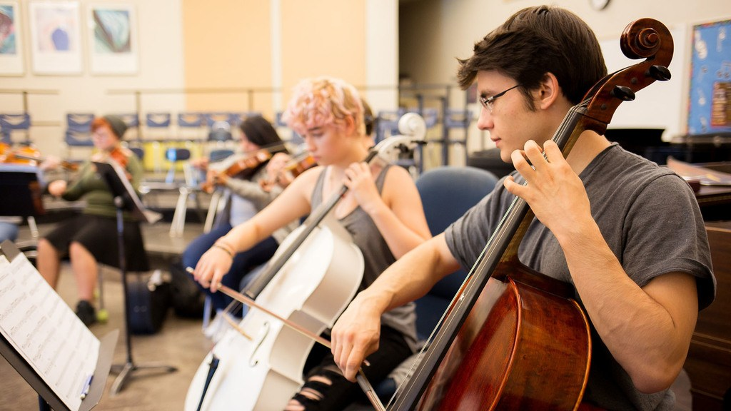 Students play cello