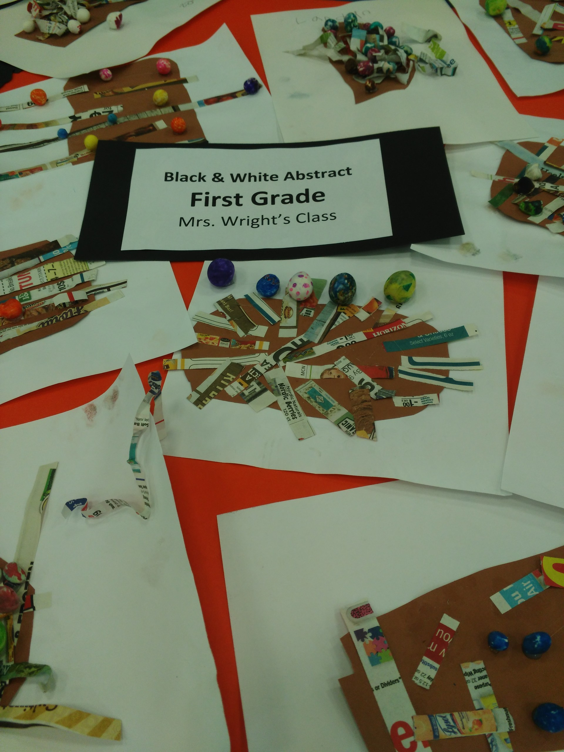 First Grade Art work in a pile