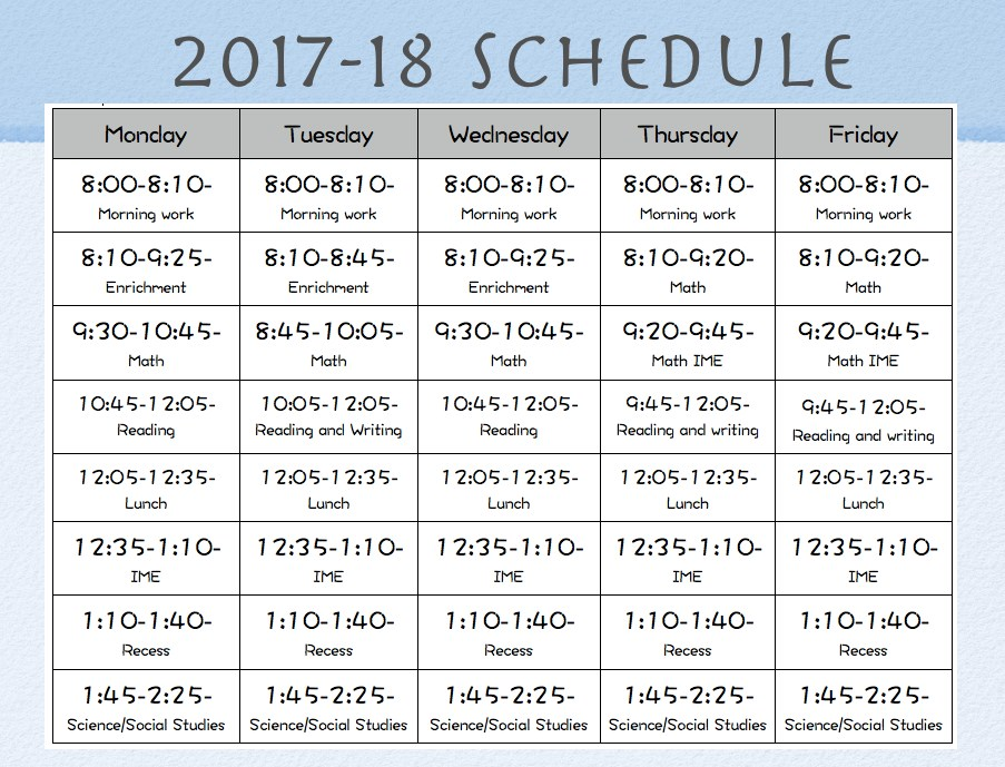 2017-18 Class Schedule Monday, Tuesday, Wednesday, Thursday, Friday