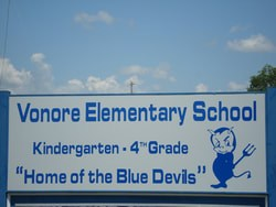 Vonore Elementary road sign