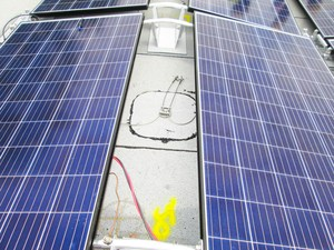 Closeup of an installed solar panel