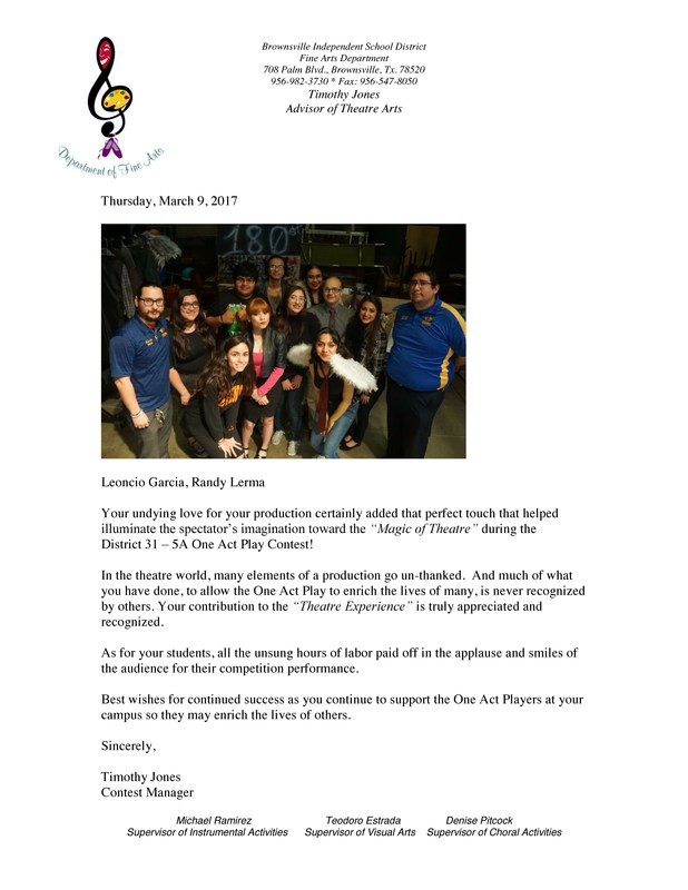 Thank you Note for Valley View Theatre Arts Teachers from Contest Manager Thumbnail Image