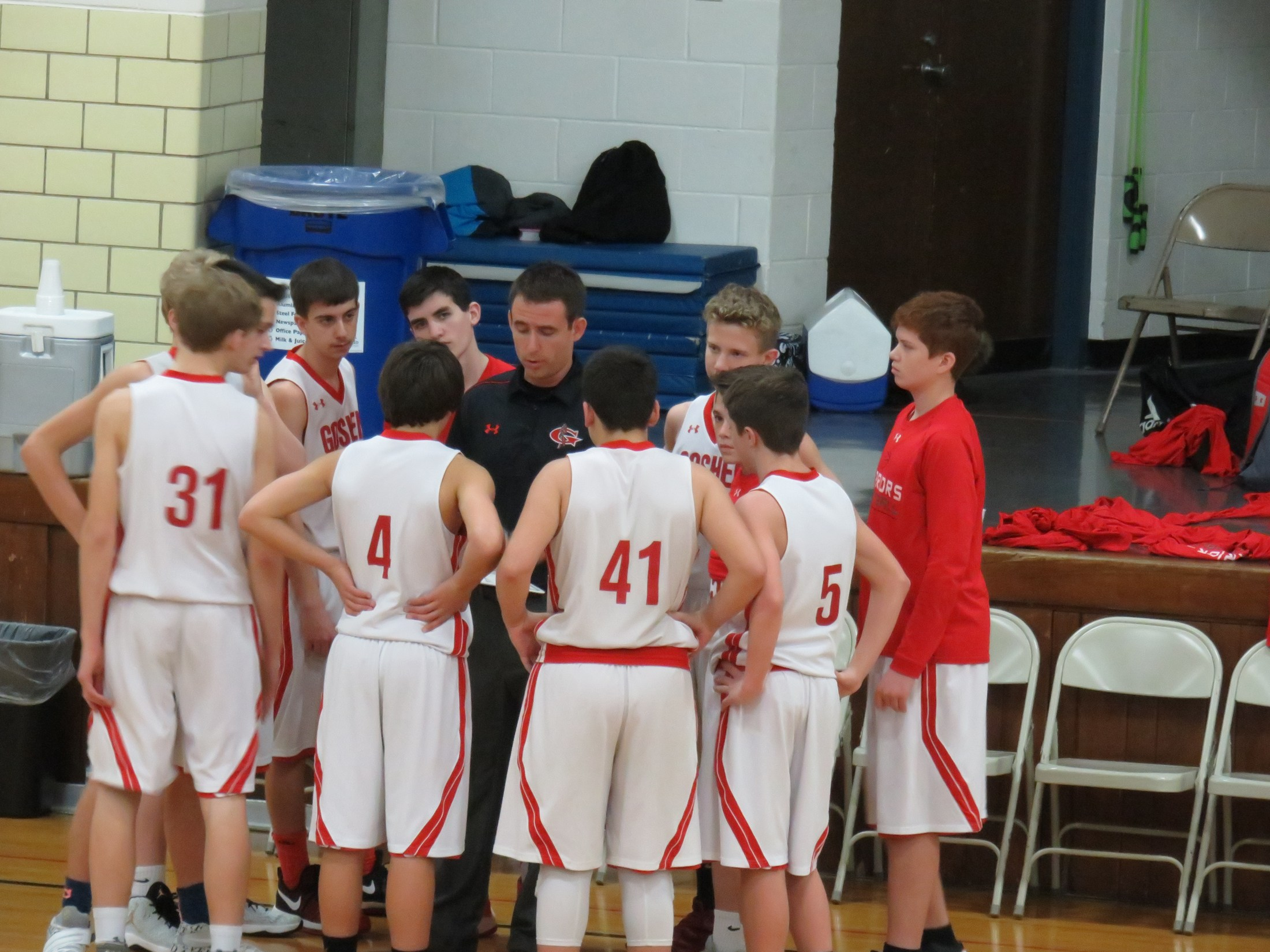 8th grade team during time-out