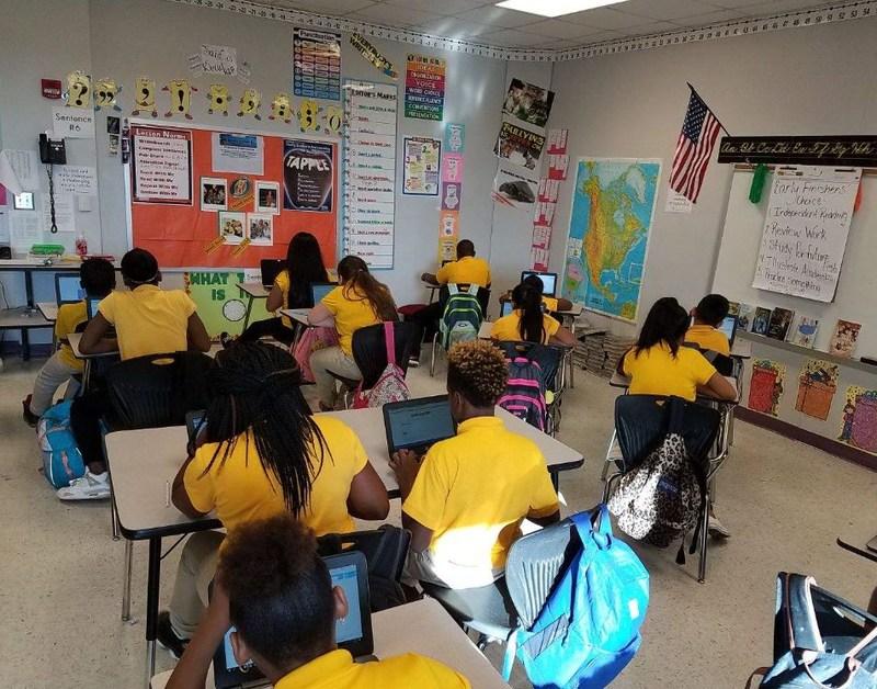 Bush's Class Using Laptops